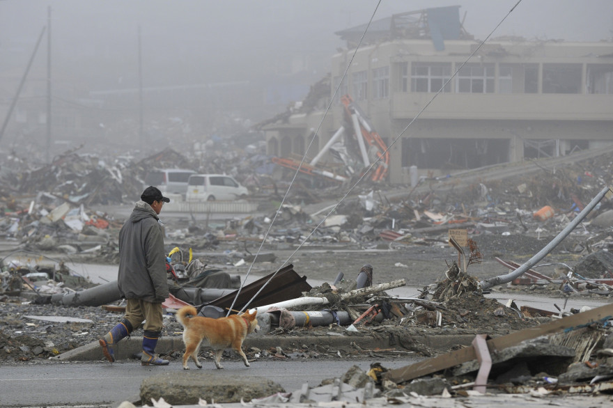 Un homme promène son chien devant les débris du tsunami à Minamisanriku (Japon), en avril 2011