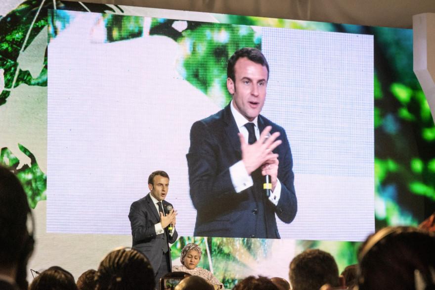 """Emmanuel Macron lors du sommet """"One Planet"""", le 14 mars 2019"""
