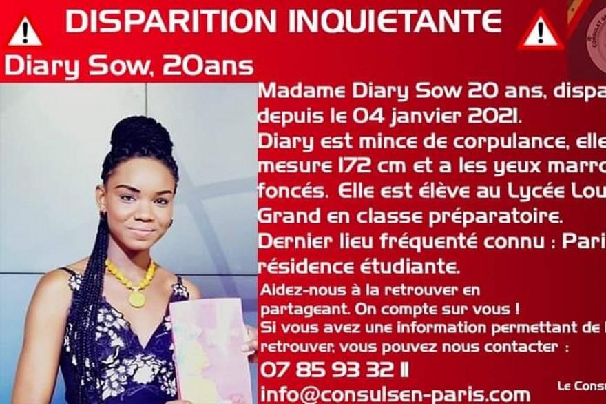 lL'étudiante Diary Sow, disparue depuis le 3 janvier 2021