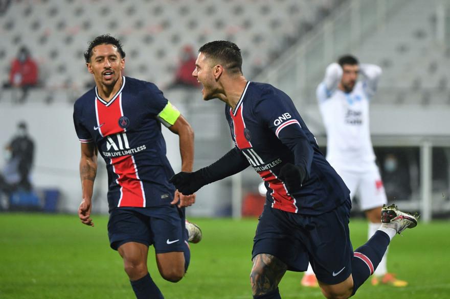 Marquinhos et Icardi avec le PSG à Lens le 13 janvier 2021
