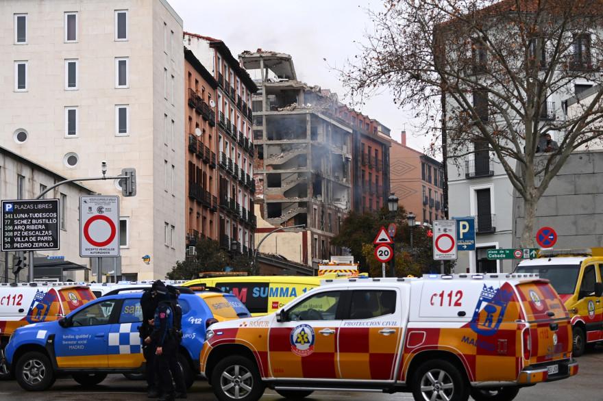 L'immeuble où a eu lieu l'explosion dans le centre de Madrid le 20 janvier.