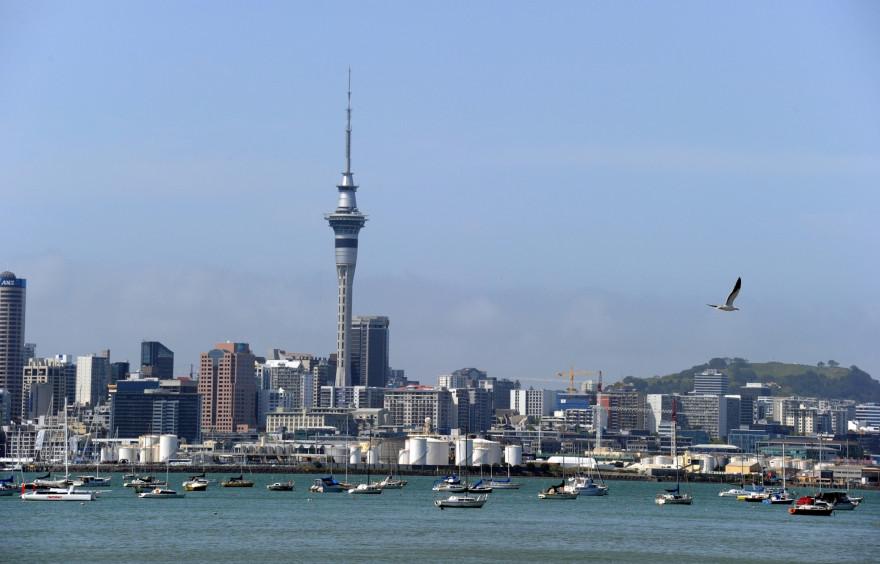 Une vue de la ville d'Auckland, en Nouvelle-Zélande, plusieurs fois reconfinée.