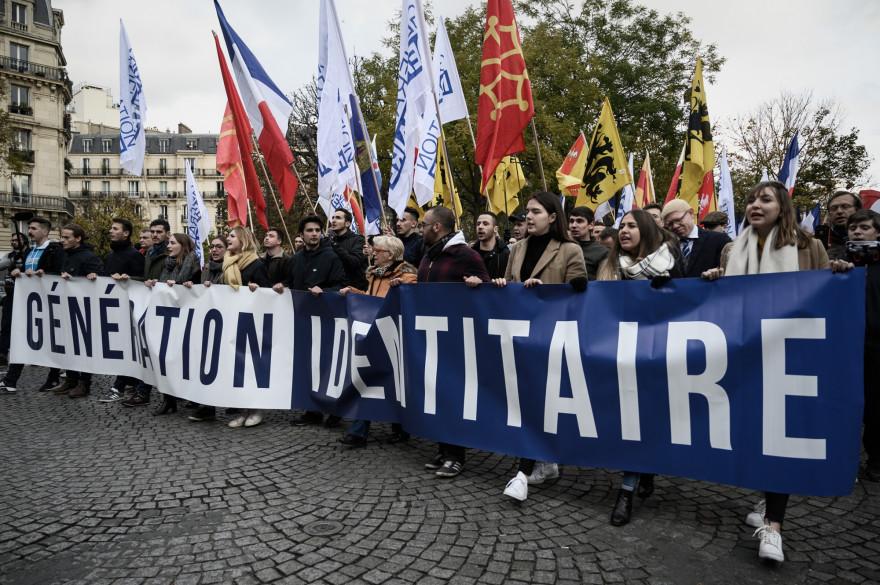 Une manifestation contre l'islamisme organisée par le groupe d'extrême droite Génération Identitaire (GI) à Paris, le 17 novembre 2019.