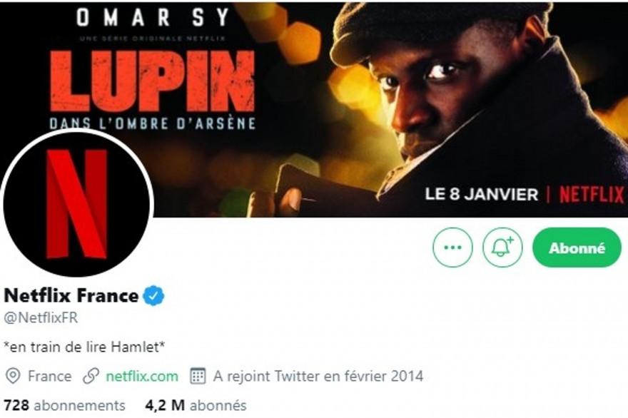 """Netflix France se met à """"lire 'Hamlet'"""" à sa biographie Twitter"""