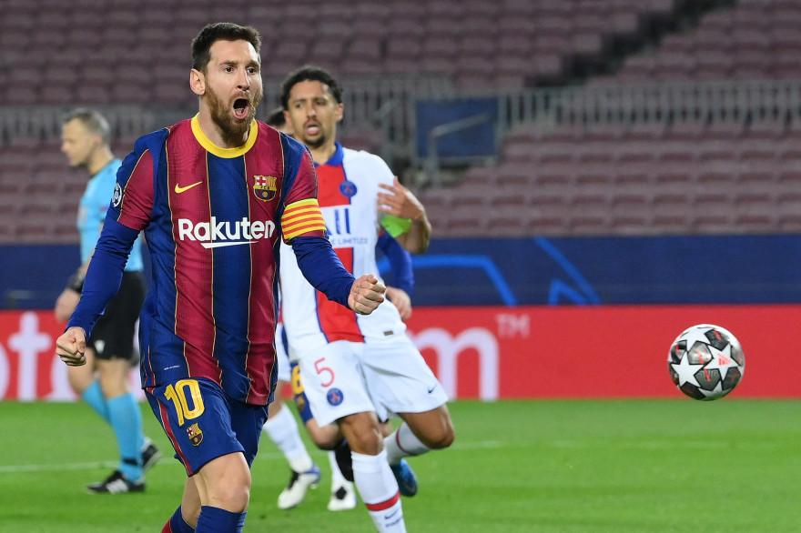 Messi devant Marquinhos au Camp Nou le 16 février 2021