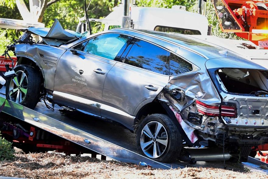 Le véhicule de Tiger Woods à la suite de l'accident du 23 février 2021
