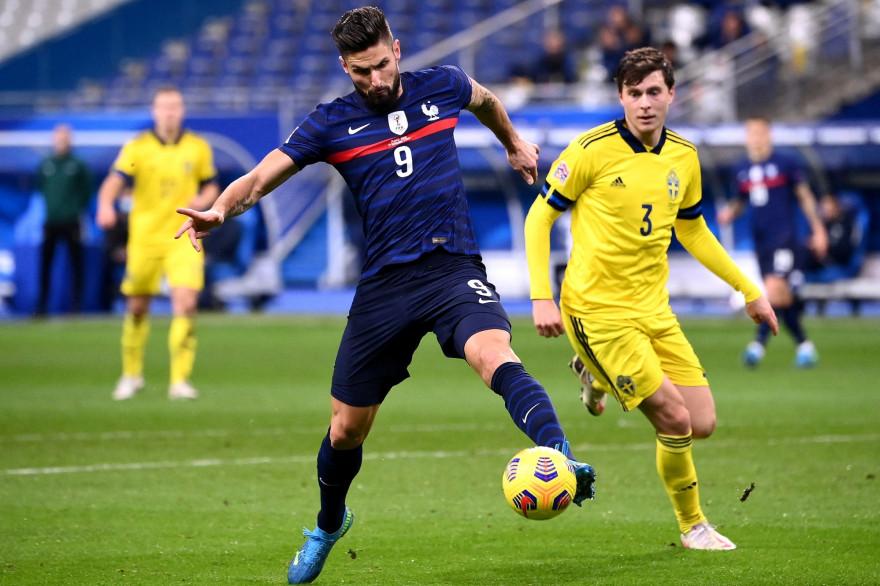 Olivier Giroud avec les Bleus face à la Suède le 17 novembre 2020