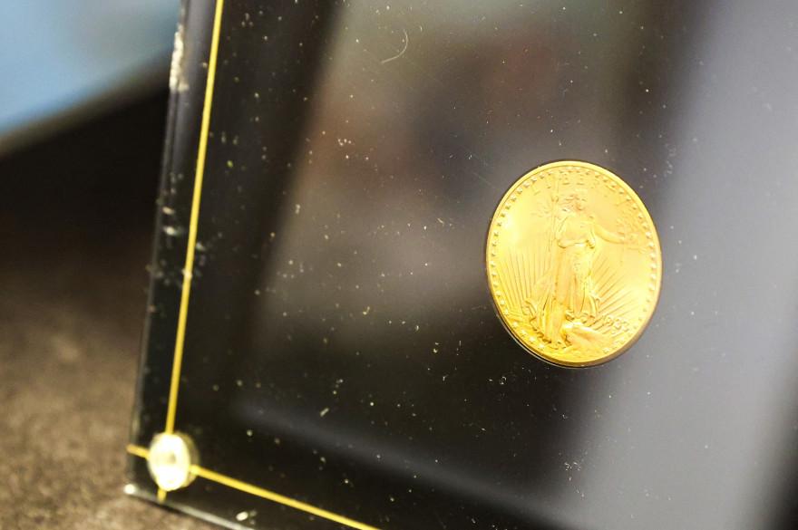 """Une pièce en or, """"Double Eagle"""", frappée par la Monnaie des Etats-Unis, en 1933"""