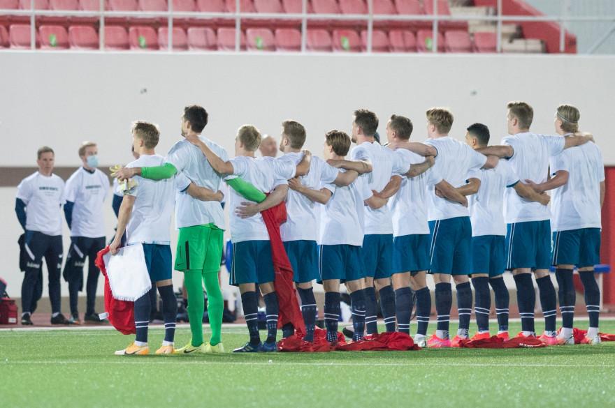 Les joueurs norvégiens, à Gibraltar le 24 mars 2021