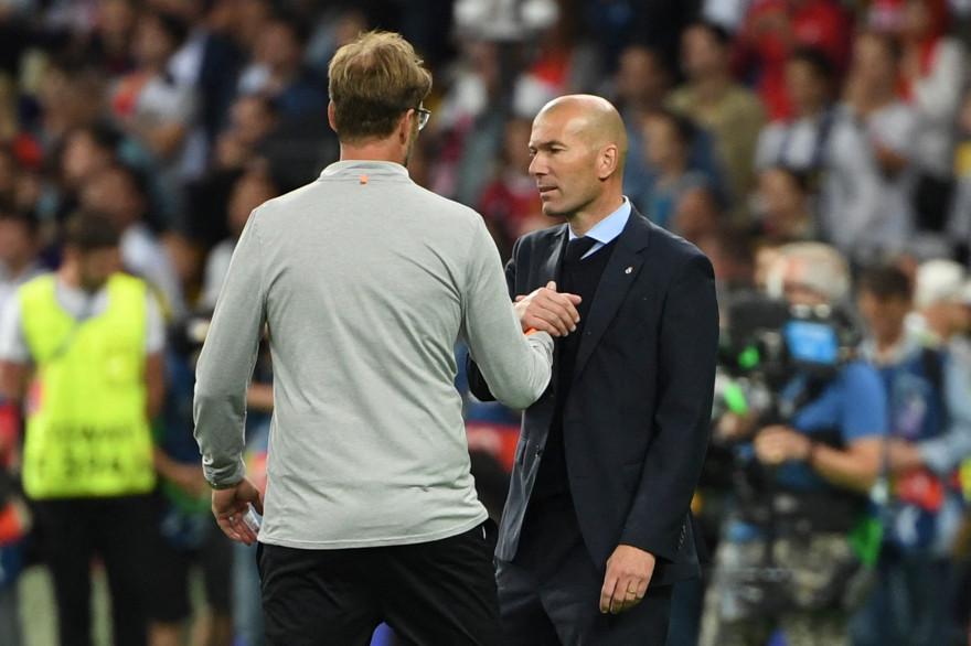 Jürgen Klopp et Zinédine Zidane à Kiev le 26 mai 2018