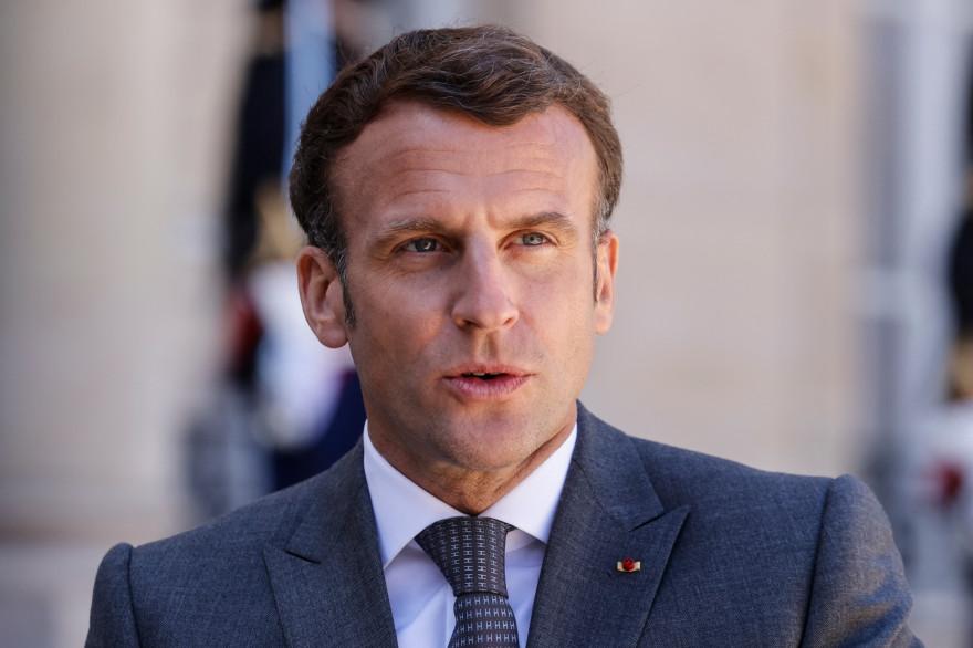 Le président Emmanuel Macron participe à une conférence de presse conjointe avec le président allemand à l'issue d'un déjeuner de travail au Palais de l'Elysée, à Paris, le 26 avril 2021.