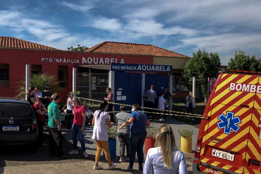 La crèche Aquarela, après l'attaque au couteau survenue le 4 mai 2021, à Saudades au Brésil.