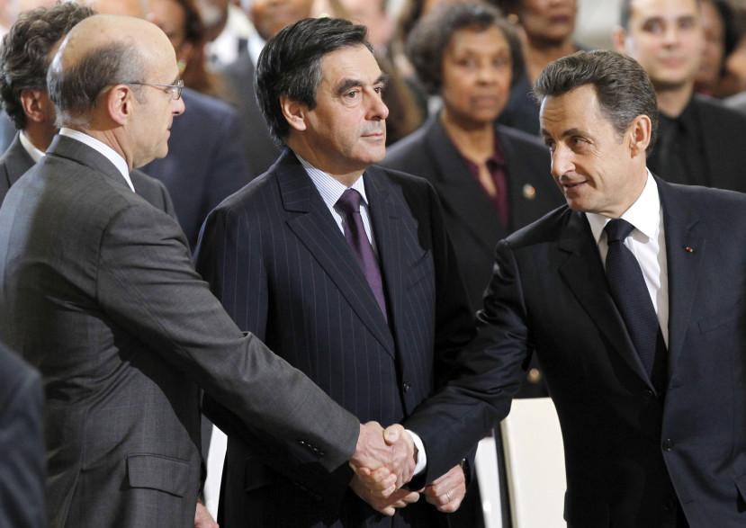 Alain Juppé, François Fillon et Nicolas Sarkozy le 6 avril 2011 au Panthéon, à Paris