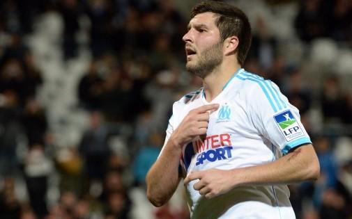 André-Pierre Gignac sous les couleurs de l'Olympique de Marseille